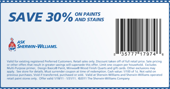 Sherwin Williams Printable Coupons August 2015