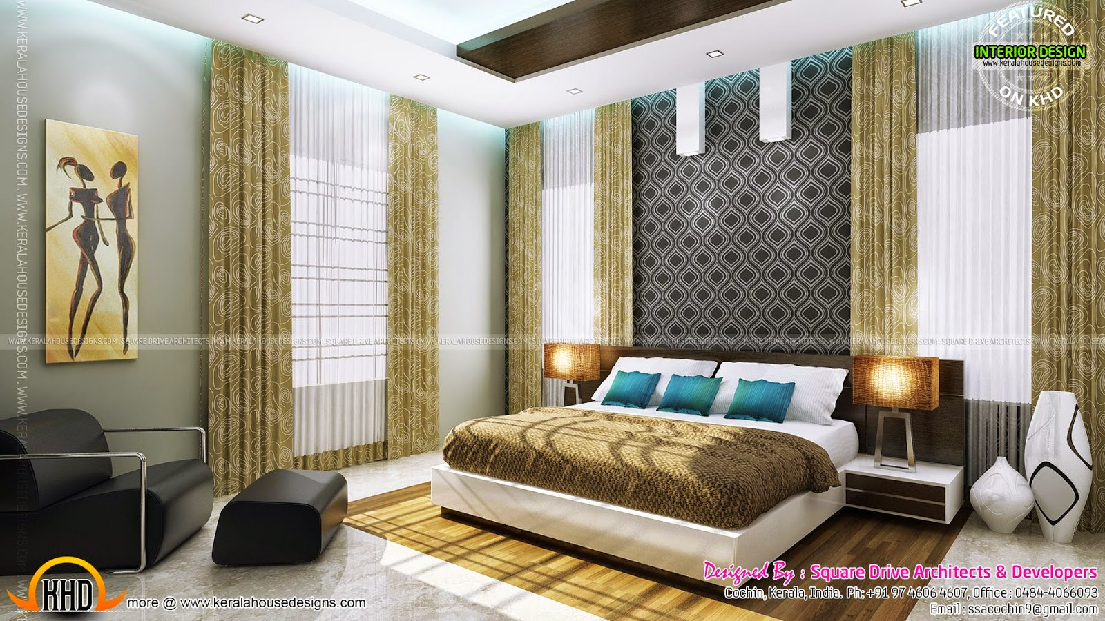 Bedroom and living interior designs kerala home design for Kerala house living room interior design