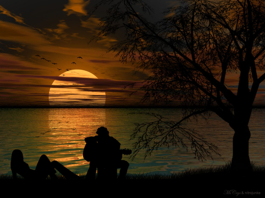 Love couple Painting Wallpaper : 18 Beautiful Sunset Wallpapers for your Pc HD - Tapandaola111