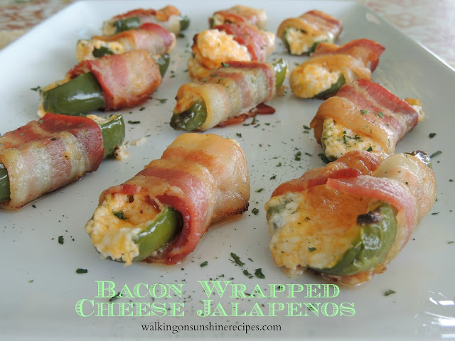 Try these bacon wrapped cheese jalapenos from Walking on Sunshine Recipes  for your next party!