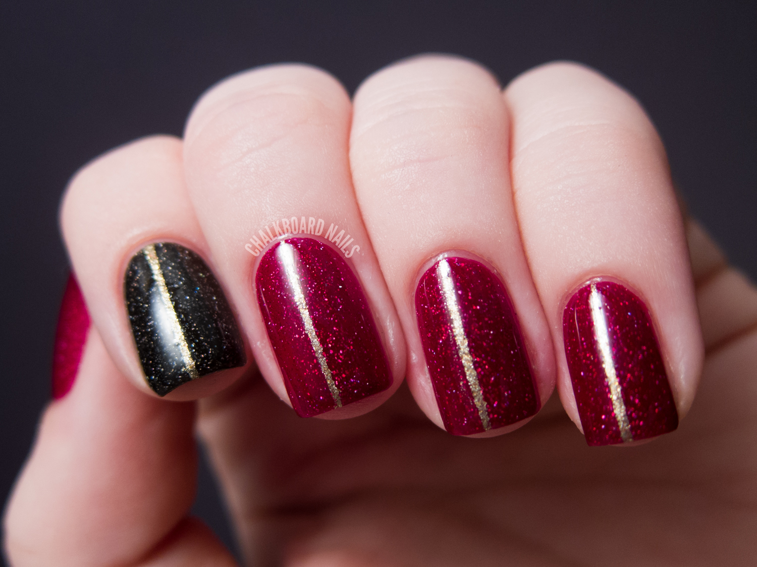Gold Pinstripe Nails Zoya Ornate Nail Art Chalkboard Nails