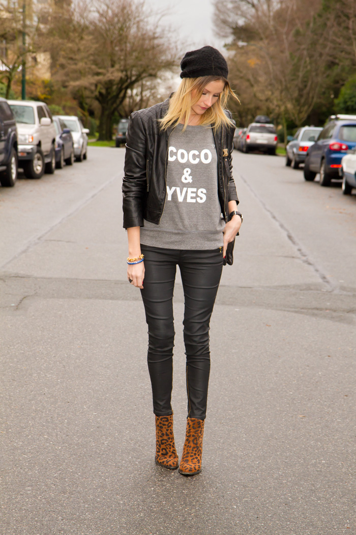 Vancouver Fashion Blogger, Alison Hutchinson, wearing XO Bella Coco & Yves grey sweater, Zara black coated skinny jeans, Zara leopard print boots, Stella & Dot, True Worth Design and J Crew Bracelets