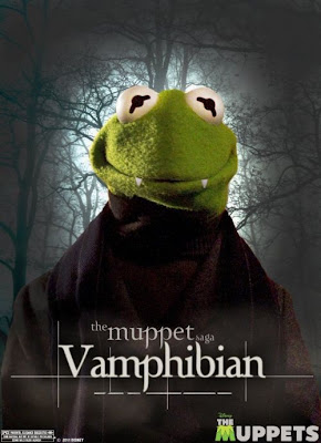"The Muppets Twilight Themed One Sheet Character Movie Posters - ""The Muppet Saga"" Kermit the Frog as Vamphibian (Edward)"