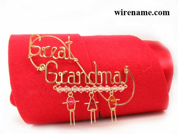 Gold-filed wire - Personalized pin brooch with birthstone kid charms