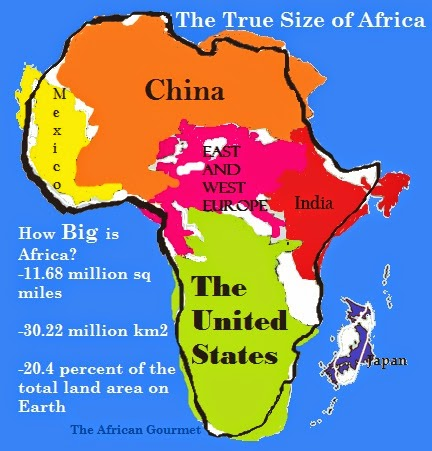 True size of africa not the distorted mercator projection chic africa is 1168 million square miles or 3022 million km2 and covers 204 percent of the total land area on earth but on the mercator projection map africa gumiabroncs Images