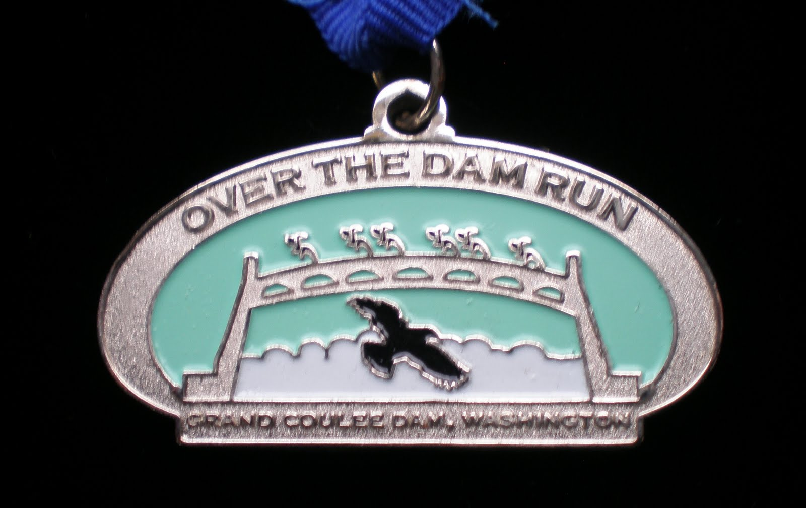 the 2008 Over the Damn Run half marathon medal