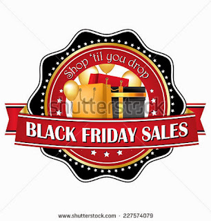 Shop'til you drop - Black Friday label for printing