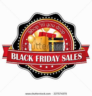 Shop'til you drop - Black Friday label for printing