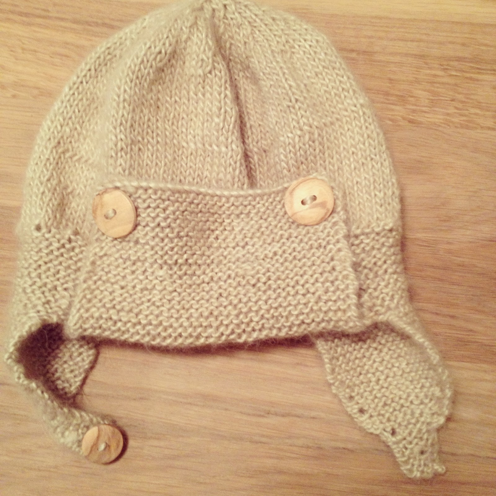 Knitted Aviator Hat - Tea and Crafting