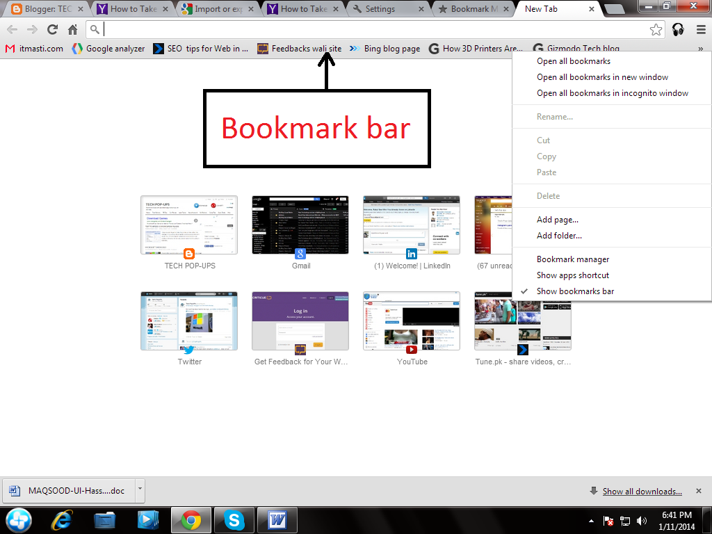 How to take back up of Chrome Bookmarks