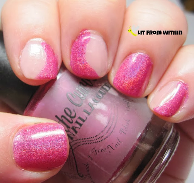 I just used the polish brush to make these curves on the nails with the Party Polish Pink.