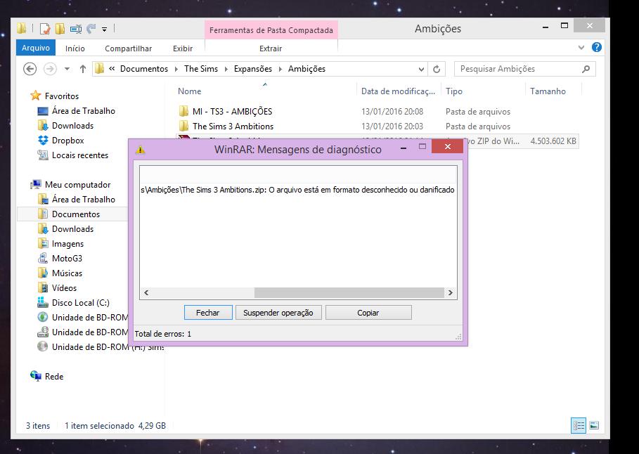 """Um print de um computador, mostrando uma mensagem de erro do winrar: """"o arquivo está em formato desconhecido ou danificado"""""""