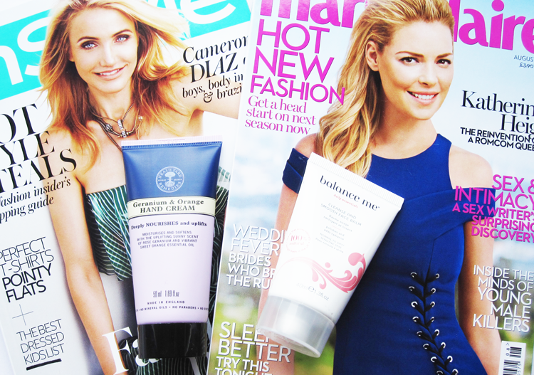 A picture of UK magazine freebies july 2014 with balance me and neal's yard remedies