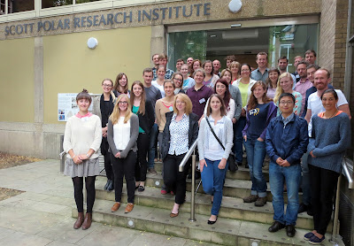 Symposium group photo outside the Scott Polar Institute, Cambridge