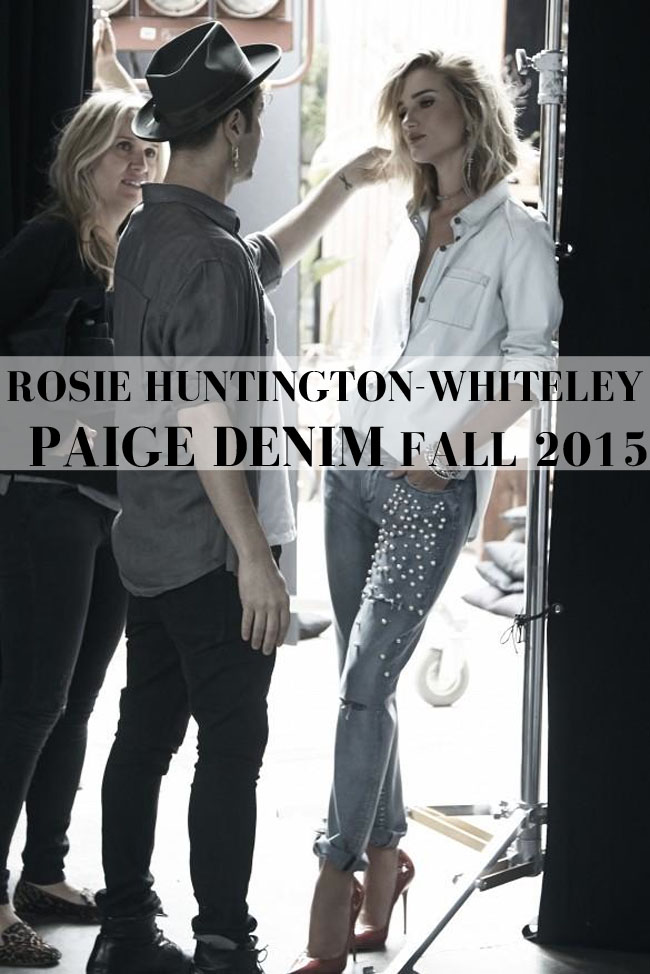 rosie huntington whiteley paige denim fall 2015 denim shirt embellished jeans shop the look