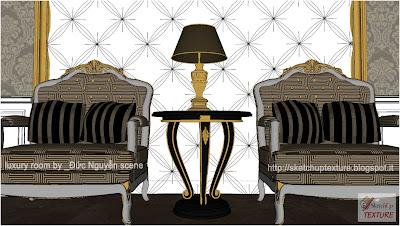 sketchup model luxury room detail 3