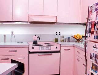 pink kitchen cabinets