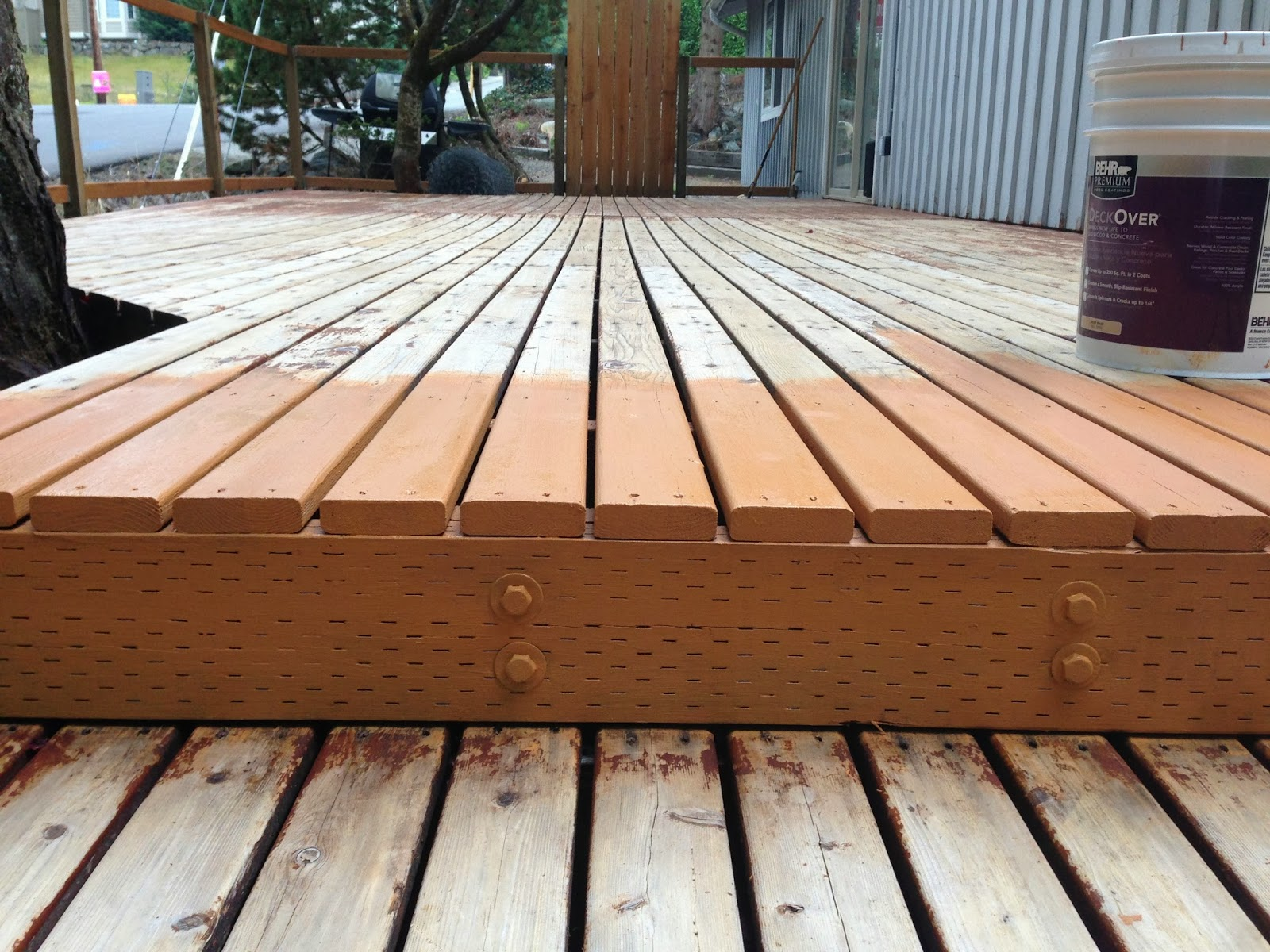 Deck Staining - Behr Deckover | Before, After, Mac & Cheese