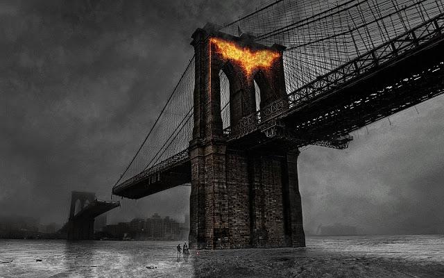 Batman Fire on Bridge Sign