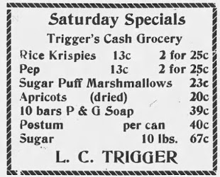 Trigger's Cash Grocery 1928 Ad