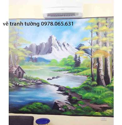 vẽ tranh tường phong cảnh,vẽ tranh tường phòng khách