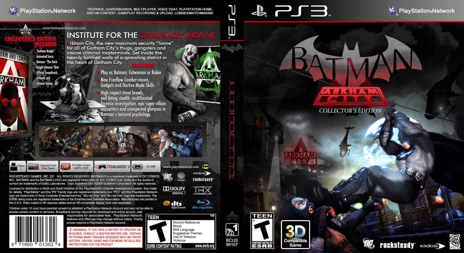 Capa Batman Arkham City Collectors Edition PS3