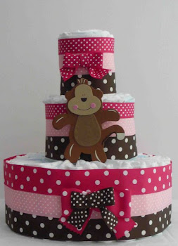 Pasteles de pañales decorados con cintas