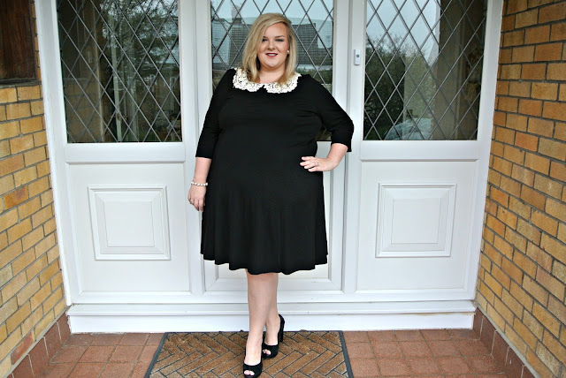 Scarlett and Jo Crochet Collar Fit and Flare Dress WhatLauraLoves Brand Ambassador