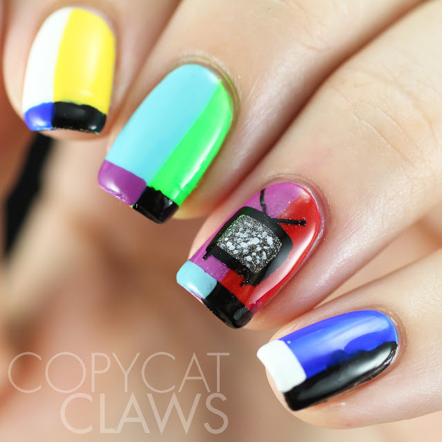 Copycat Claws Blue Color Block Nail Art: Copycat Claws: TV Off Air Nail Art