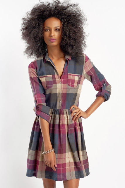 kareli kısa gömlek elbise