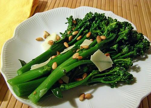 Plate of Parmesan Pine Nut Broccolini