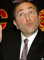 Gary Bettman at Press Conference with funny face