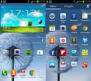 Pantalla principal Samsung Galaxy III