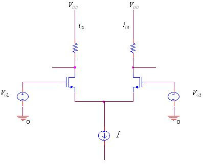 The MOSFET differential pair for the purpose of deriving the transfer      characteristics