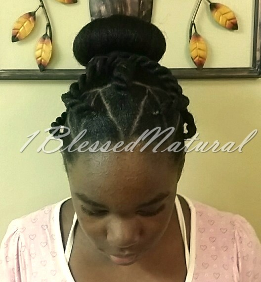 1bn Kids Triangle Parted Twists With Bun Style