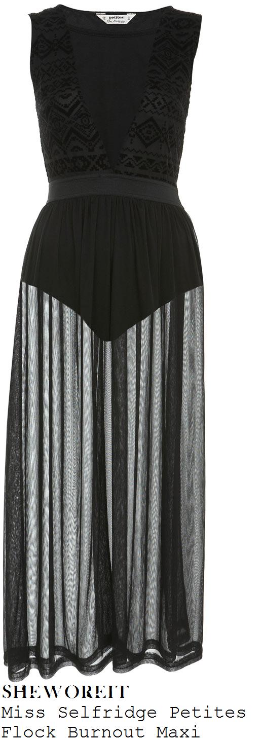 Miss selfridge black mesh panel dress