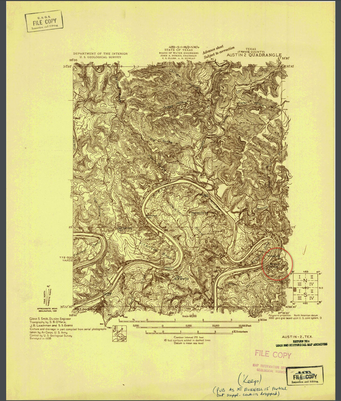the general highway map of travis county from 1936 also has comanche peak and is marked u s b r us bureau of reclamation the map is available at the