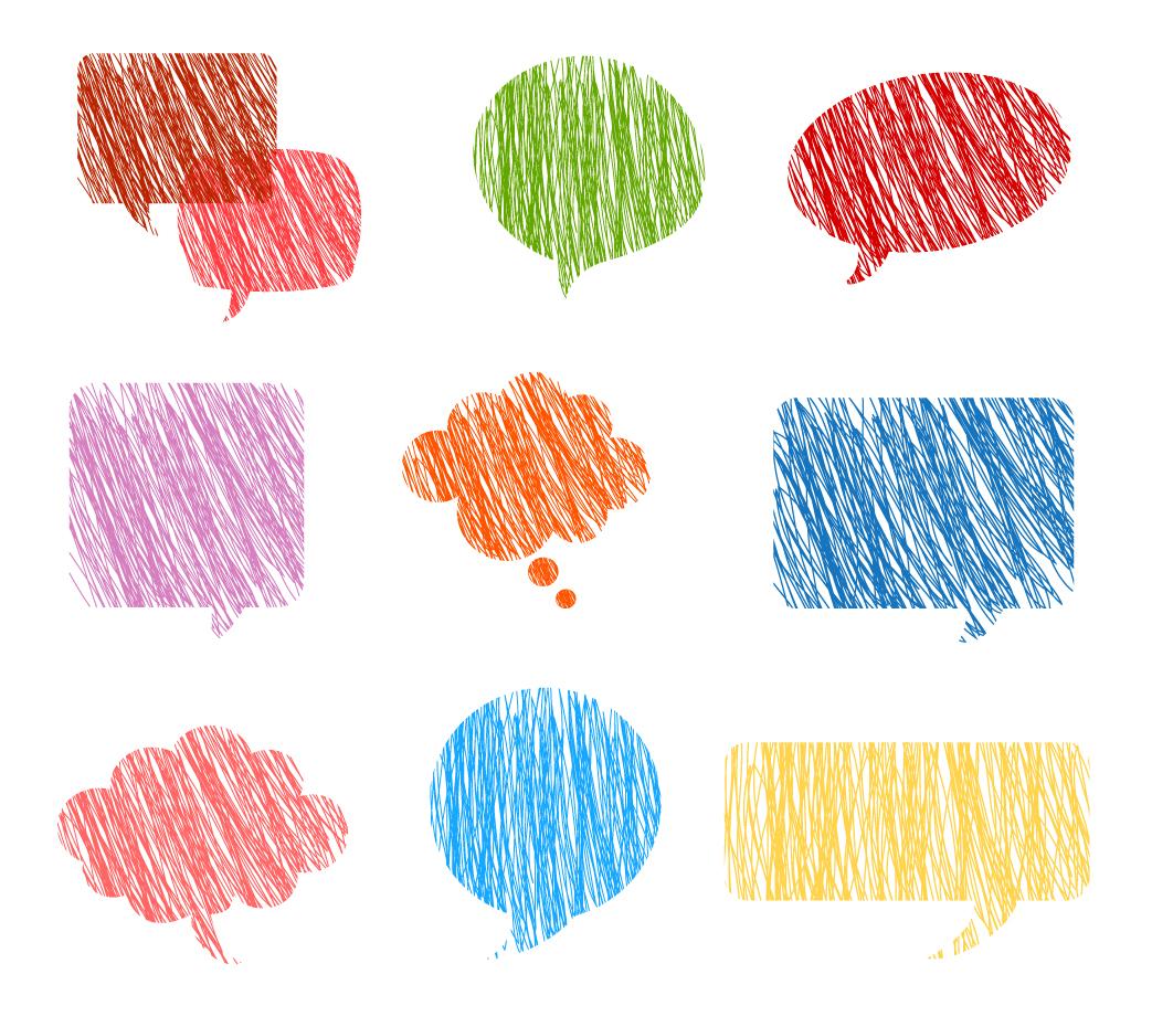 クレヨンで塗ったカラフルな吹出し Crayon Word Bubbles イラスト素材