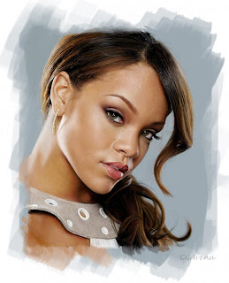 Draw a photorealistic portrait of Rihanna