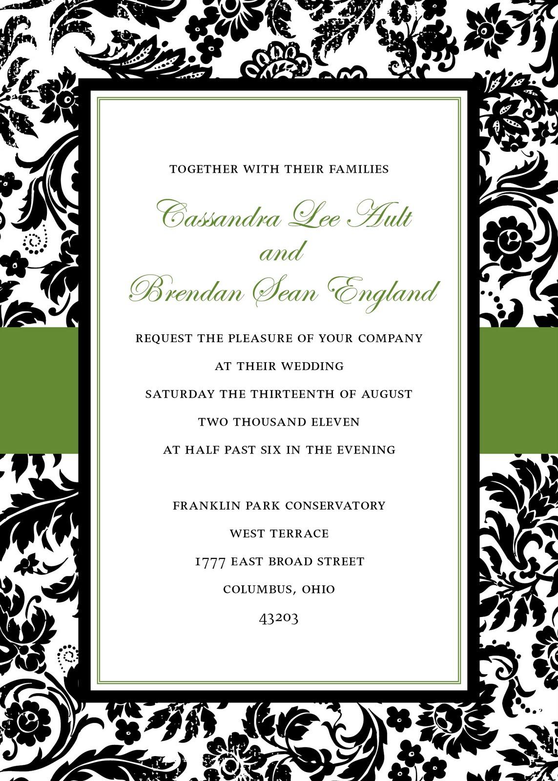 damask wedding invitation templates free