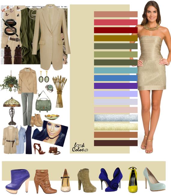 С чем носить песочное платье