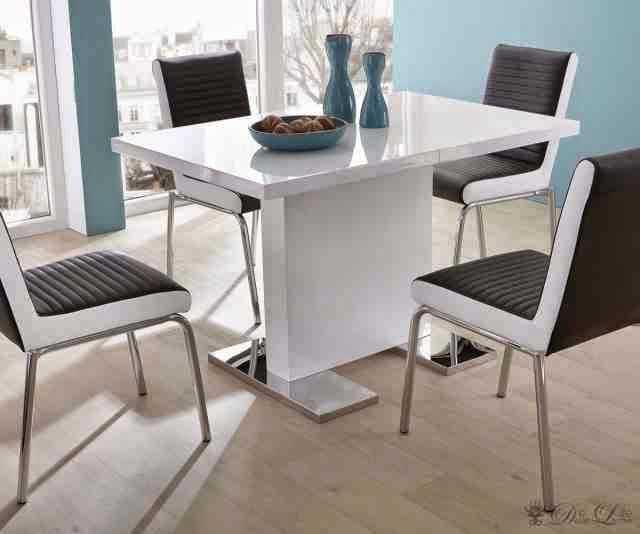 white small dining table and black chairs modern furniture design - Small Dining Room Ideas Modern