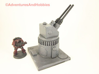 Miniature wargame remote air defense gun turret - side view B.