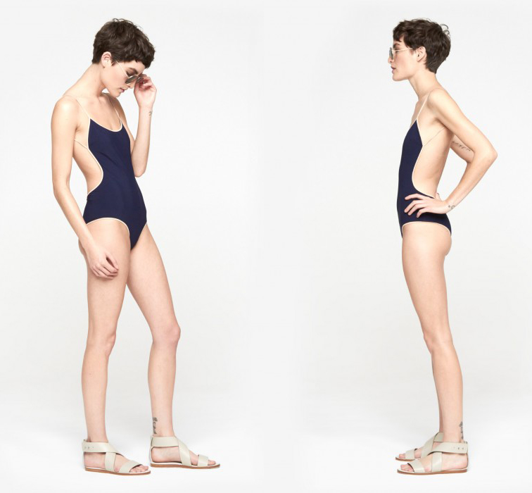 Chloé Border Bath Suit in Navy and Nude, Chloé backless one-piece swimsuit, summer 2014