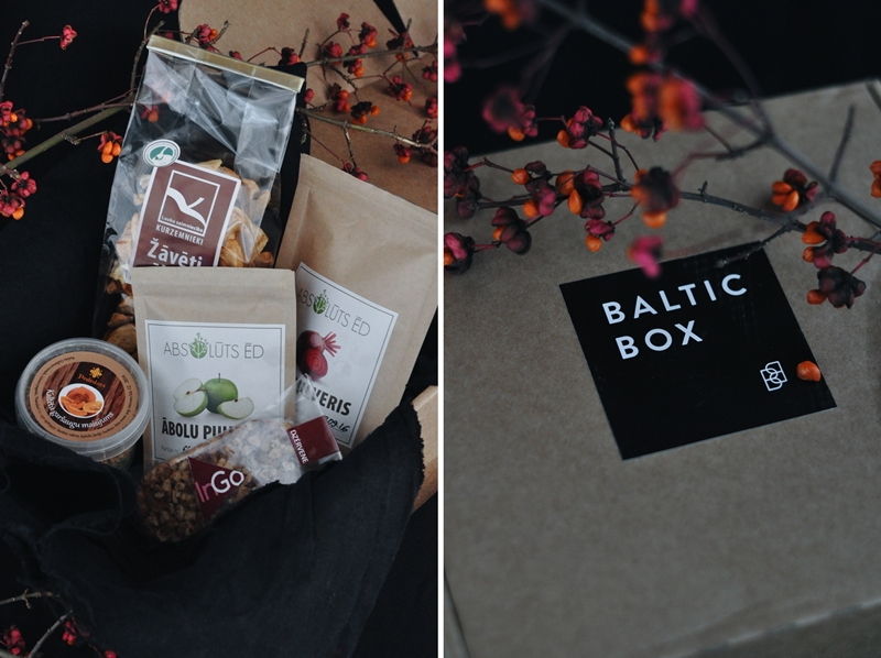 Novembra Baltic Box - dabas velšu pulveri, žāvēti āboli un musli batoniņš