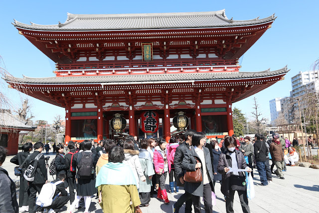 This is Hozomon Gate, located at the end of Nakamise shopping street at Asakusa Sensoji Temple in Tokyo, Japan