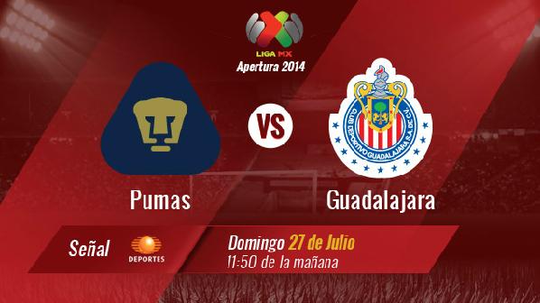 Trasmision en vivo Pumas vs Chivas Guadalajara Futbol Mexicano