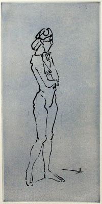 Stefan Friedemann: Sinnende (Akt), Reservage/Aquatinta, zwei Platten, 2010