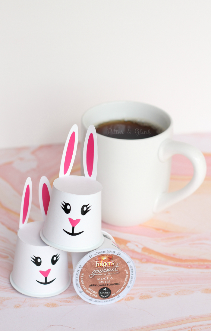 Easter Bunny K-Cup Sleeves with Free Cut File--The perfect cute Easter treat for the coffee lover in your life! pitterandglink.com