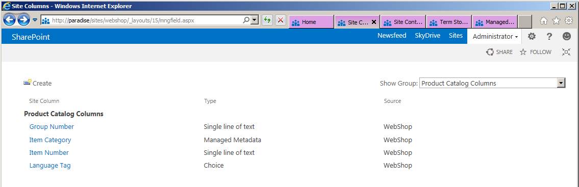 Sharepoint 2013 preview product catalog site template custom pre created content types maxwellsz